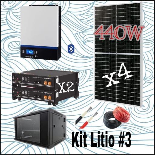 KITS  SOLAR Nº13 48V CON 2 BATERIAS DE LITIO Y CON 4  PANELES SOLARES DE 440W MONOCRISTALINOS E INSTALACION INCLUIDA