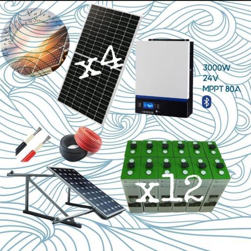 KIT SOLAR Nº21 24V CON 4 PANELES SOLARES DE 440W MONOCRISTALINOS Y 12 ACUMULADORES DE 390AH UNIDAD