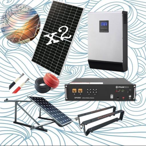 Kit solar 48v de litio con 2 paneles solares de 440w