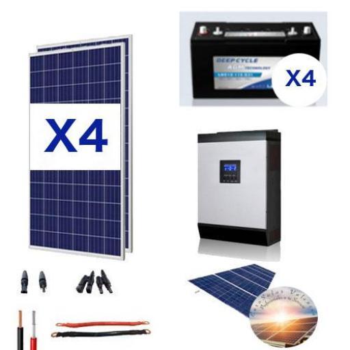 KIT SOLAR Nº18 CON 4 PANELES SOLARES DE 450W Y 4 BATERIAS 6V 245AH UNIDAD