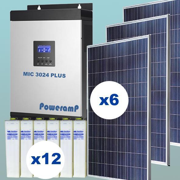 KIT SOLAR Nº15 24V CON 12 ACUMULADORES DE 500AH UNIDAD