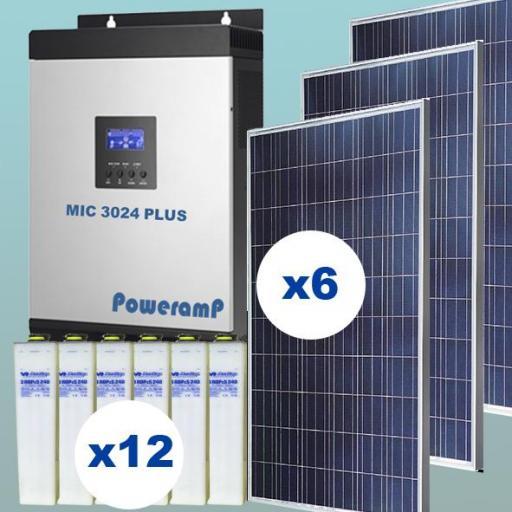 KIT SOLAR Nº5 24V CON 6 PANELES SOLARES DE 275W Y 12 ACUMULADORES DE 720AH UNIDAD
