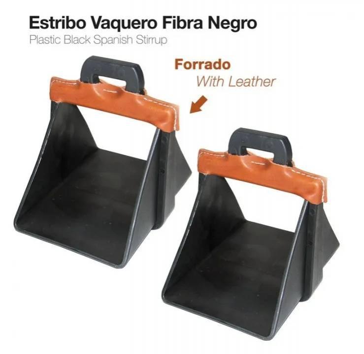 ESTRIBO VAQUERO FIBRA FORRADO NEGRO