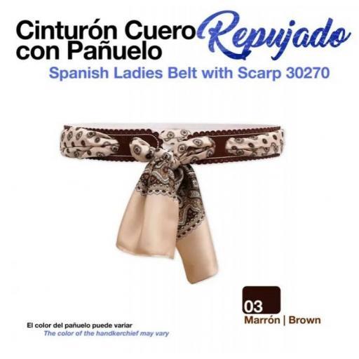 CINTURÓN CUERO REPUJADO C/PAÑUELO 30270