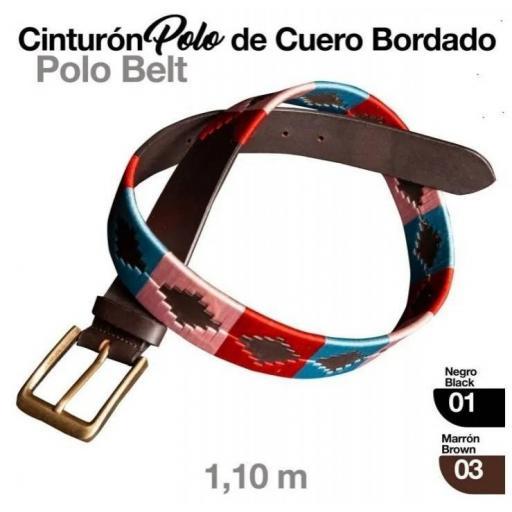CINTURÓN POLO CUERO BORDADO