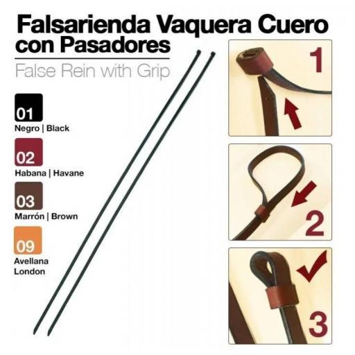 FALSARIENDA VAQUERA CUERO CON PASADORES