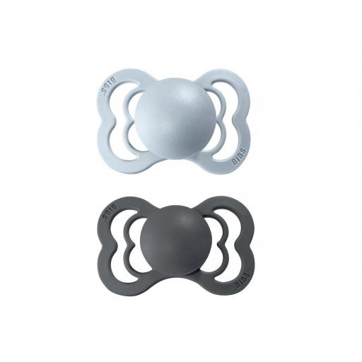Pack 2 Chupetes BIBS Supreme Iron/Baby Blue Silicona