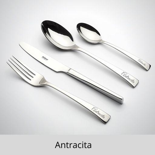 CUBERTERÍA PERSONALIZADA. ANTRACITA 18/10 3.5 mm
