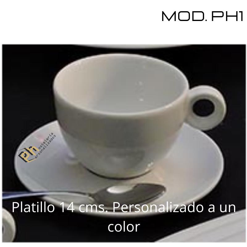 Platillo Café 12.5 cms. Personalizado a 1 color. MOD.PH1