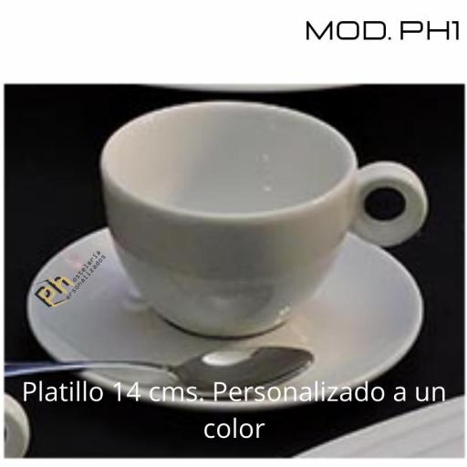 Platillo Café 14 cms. Personalizado a 1 color. MOD.PH1