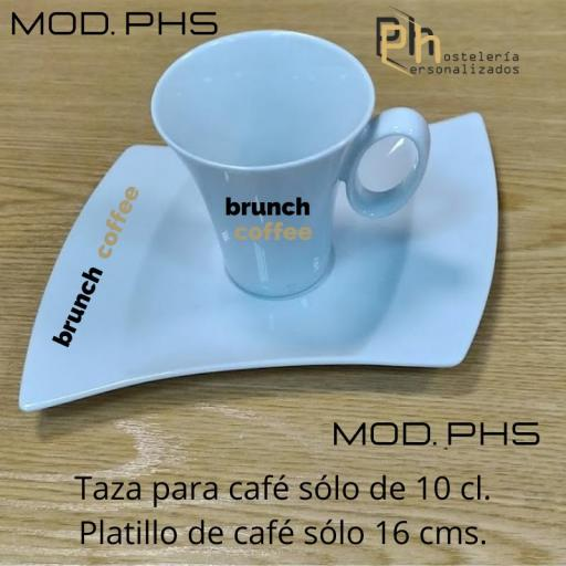 Taza y Platillo Personalizada para 10 cl. a 1 color. MOD.PH5