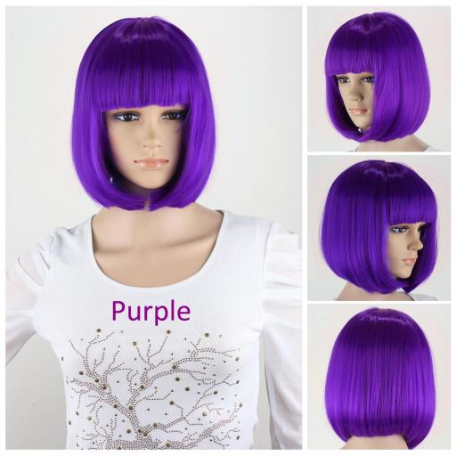 Peluca corta color purpura
