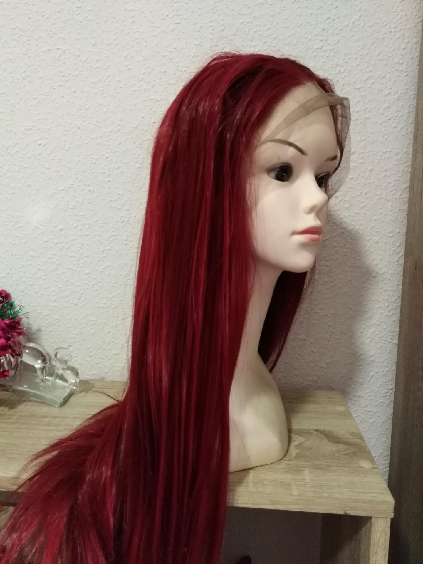 Peluca lace front, rojo oscuro