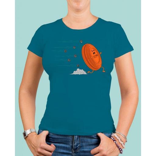 """Camiseta mujer TUTIRO """"A LA FUGA"""" (Azul)"""