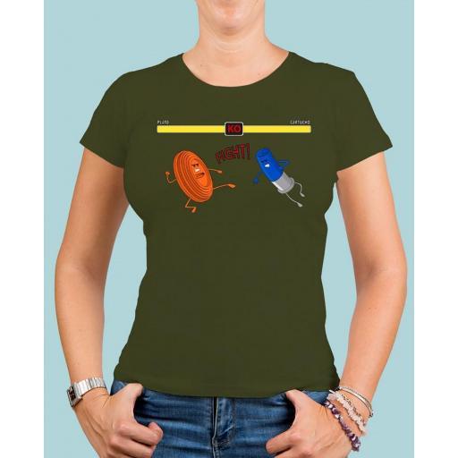 "Camiseta mujer TUTIRO ""FIGHT"" (Verde)"