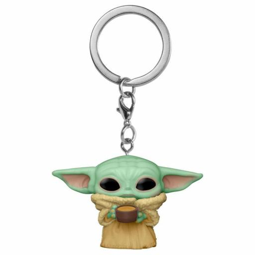 Llavero Pocket Pop! Star Wars The Mandalorian Yoda The Child with Cup