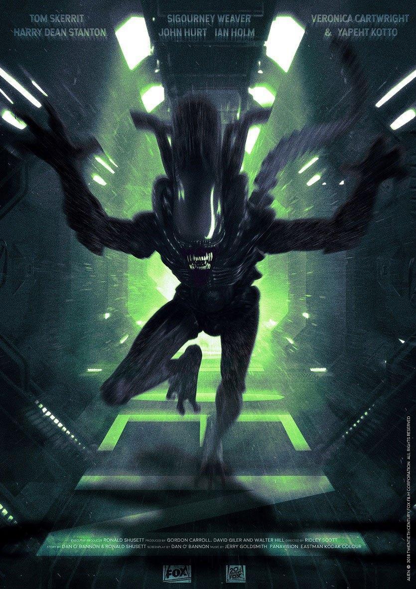 Art Print 42 x 30 Alien Attack