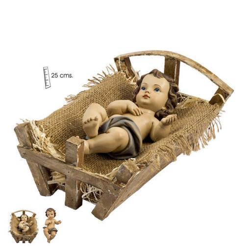 Niño Jesús sobre Cuna de Madera