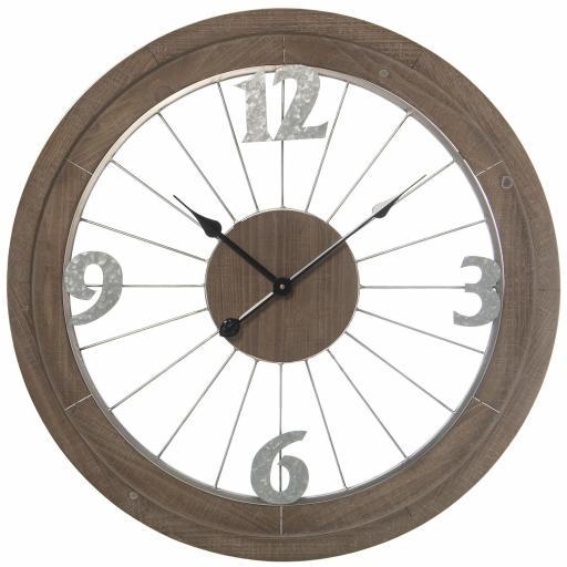 Reloj Pared Metal con Madera Oscura de 70 cm diámetro
