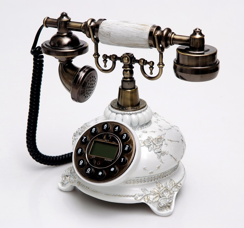 Teléfono Clásico Flores Crema