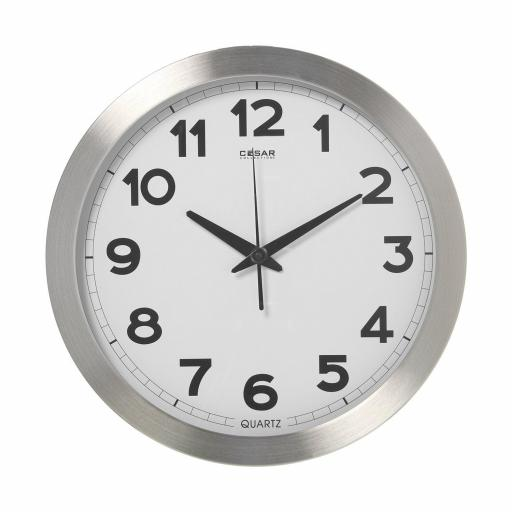 Reloj Pared Aluminio Redondo de 36 cms Esfera Blanca