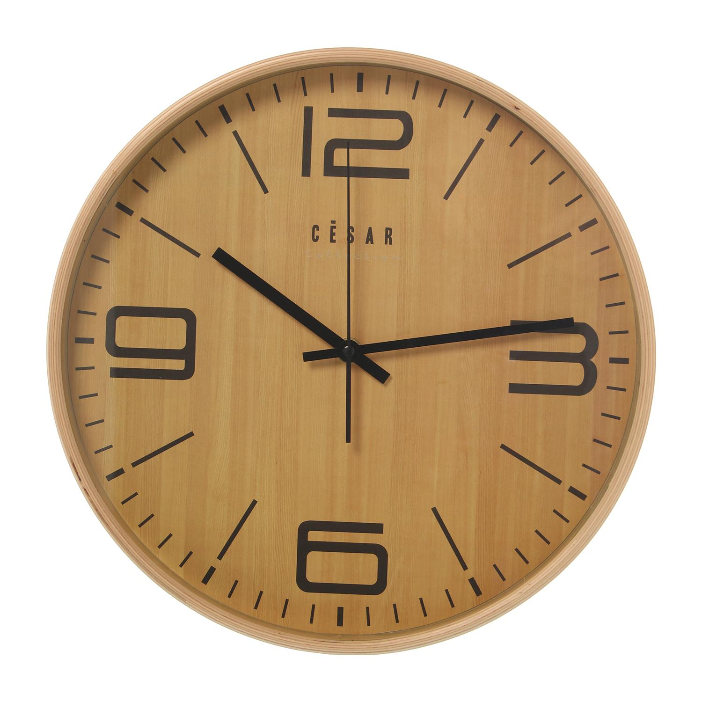 Reloj Pared Madera Color Haya Redondo