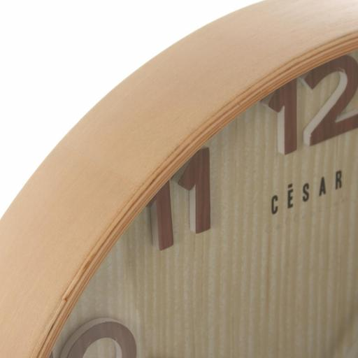 Reloj Pared Madera Color Haya Redondo [2]