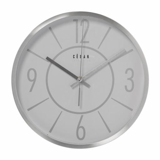 Reloj Pared Aluminio Redondo de 30 cms Esfera Blanca