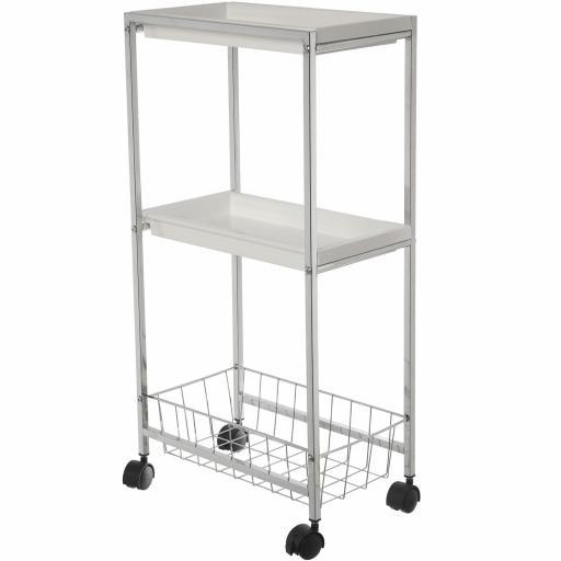 Carro Metal con 2 estantes Blancos una cesta y ruedas