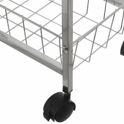 Carro Metal con 2 estantes Blancos una cesta y ruedas [1]