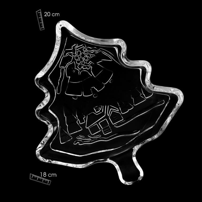 Bandeja Cristal Forma de Abeto Decorado en Cristal mate con Paisaje