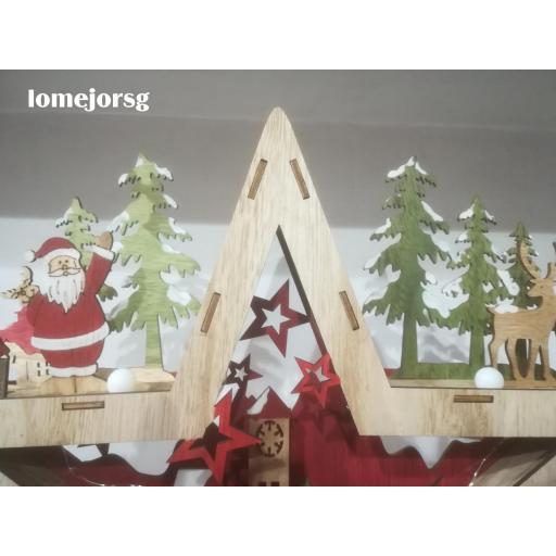 Estrella Madera Papá Noel  con Luz [2]