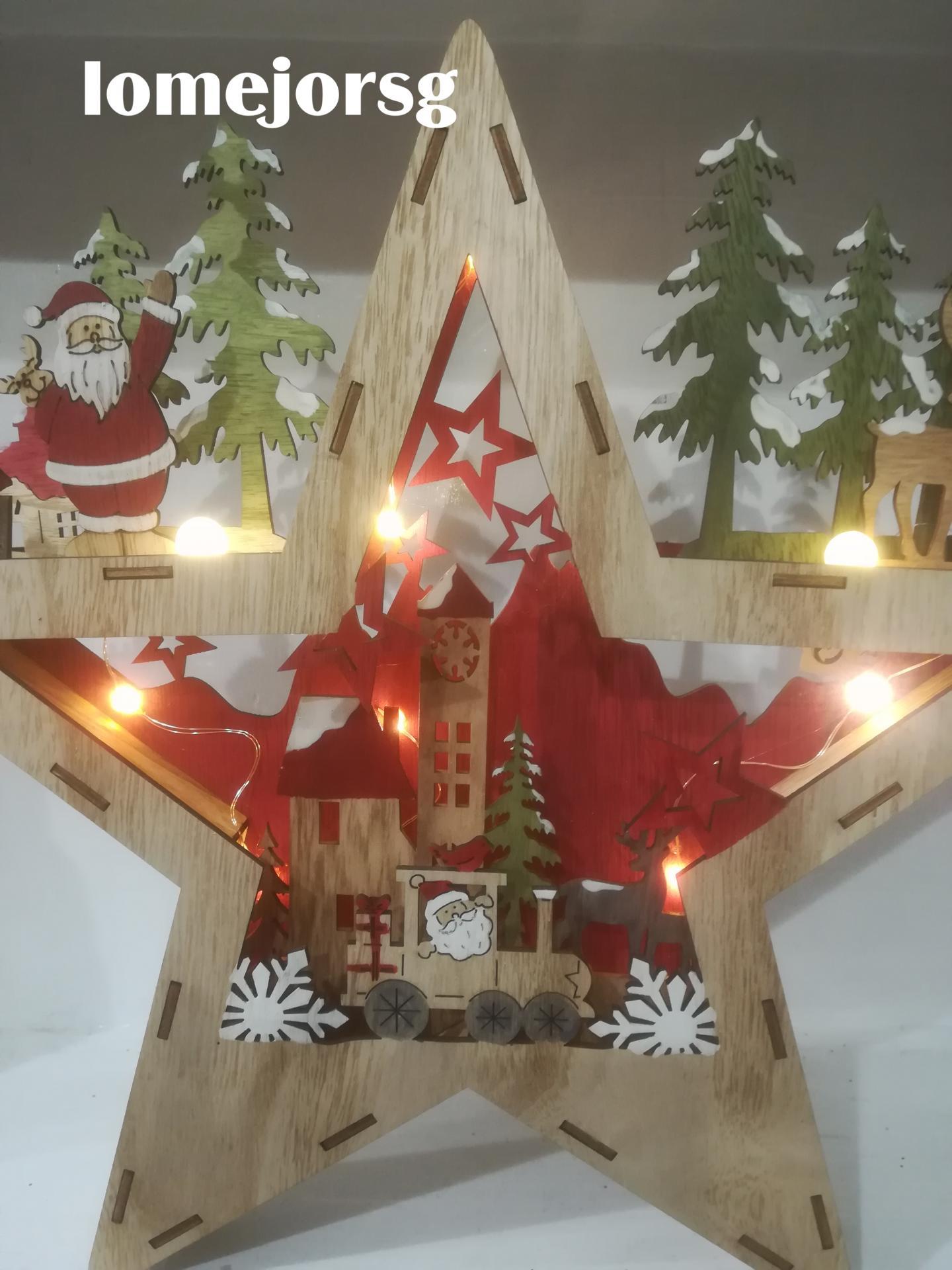 Estrella Madera Papá Noel  con Luz