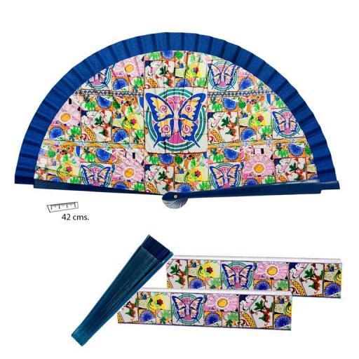 Abanico Mosaico filo azul