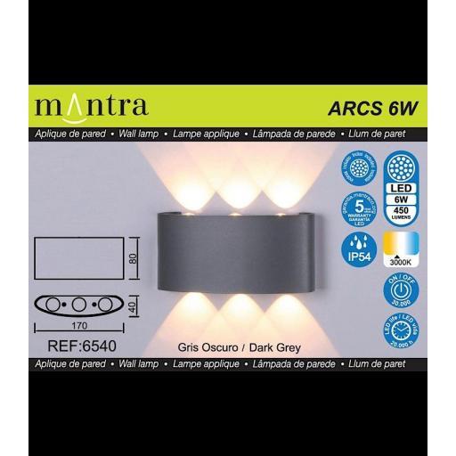 Aplique Led Exterior ARCS Gris Oscuro [2]