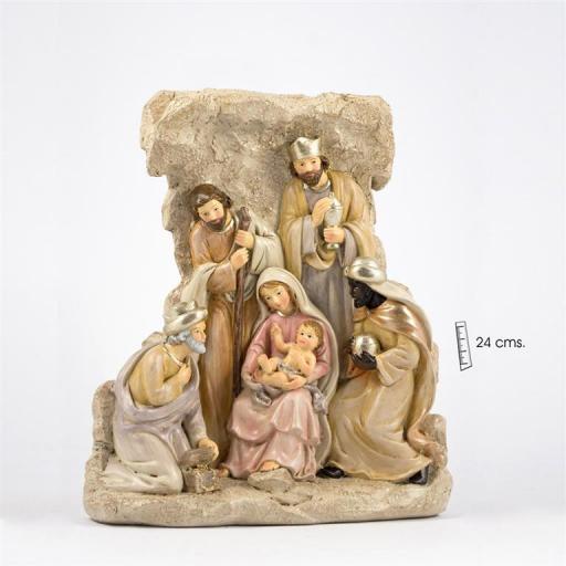 Belén Clásico 1 pieza con Reyes de 24 cms en Roca.