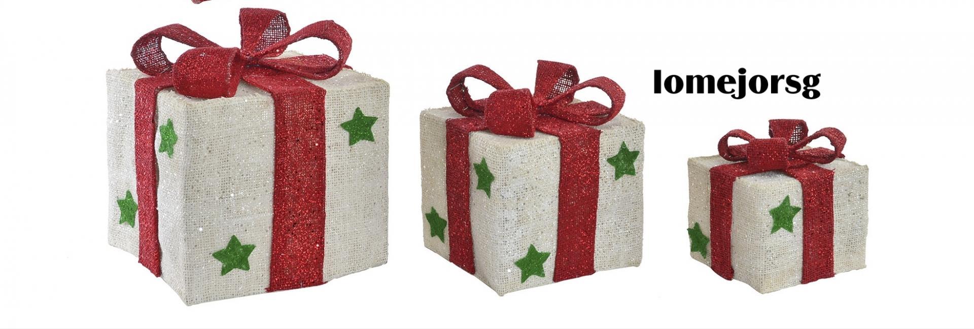 Juego 3 Cajas Regalos con Luz Led Navidad