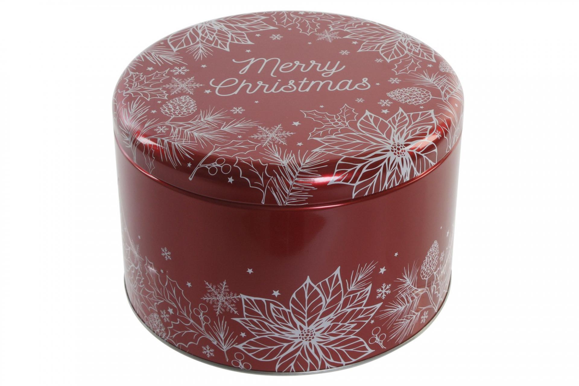 Caja Navidad Metal Redonda