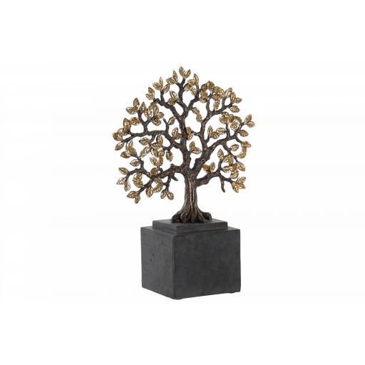 Figura Árbol de la Vida dorado con peana negra