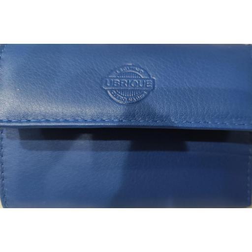 Monedero  Piel Ubrique  Azul con Llavero y Tarjetero