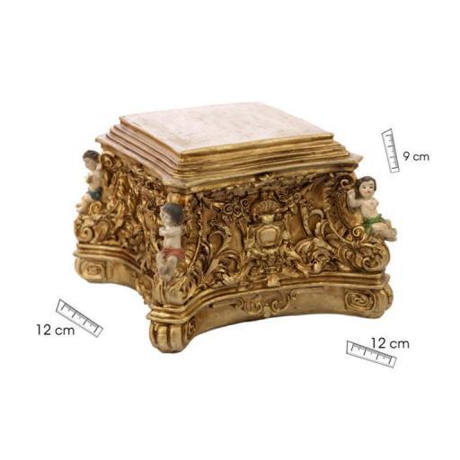 Ménsula cuadrada oro con ángeles 12x12x9