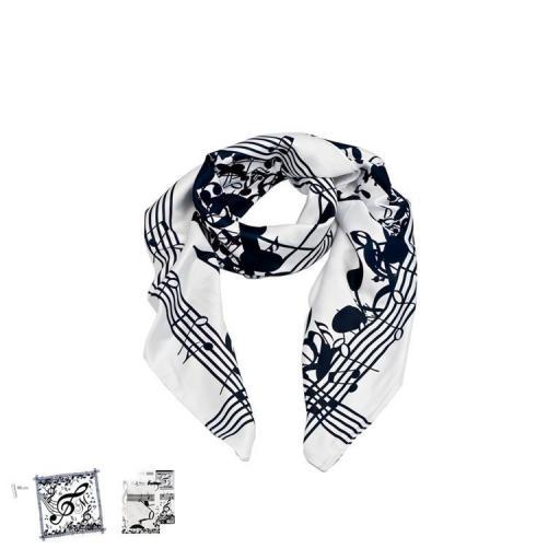 Pañuelo Seda Música Blanco y Negro [1]
