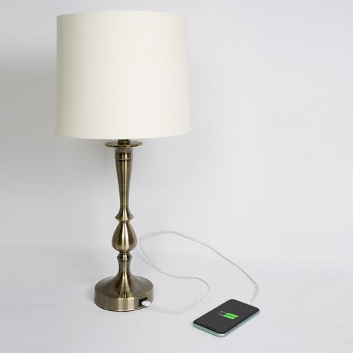 Sobremesa Khalifa Cuero con Puerto USB [2]