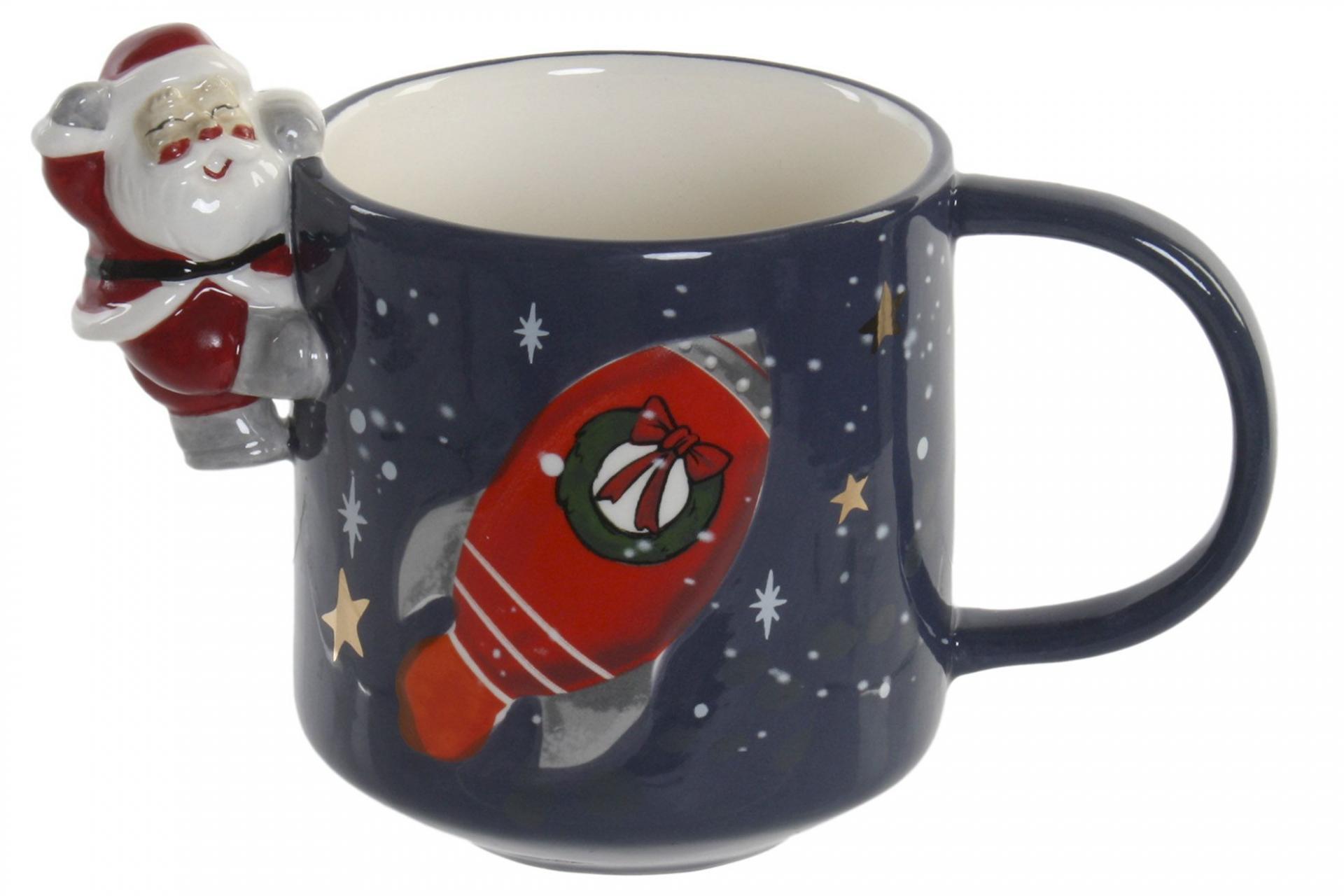 Taza Navideña con Santa Claus Relieve