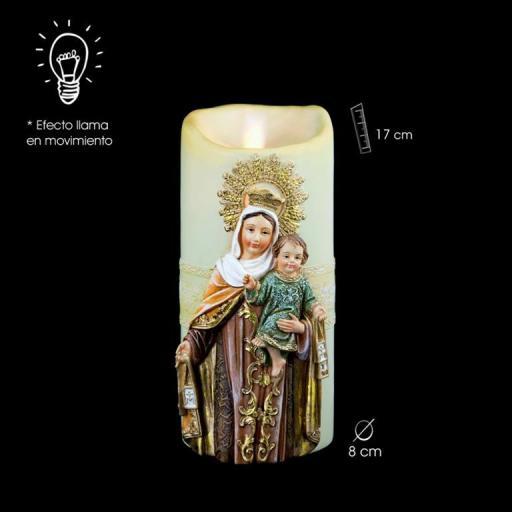 Virgen del Carmen Vela con Efecto Llama