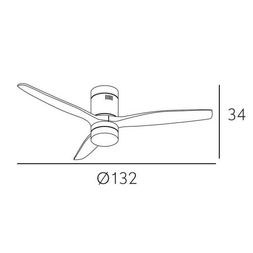 Ventilador Aguilón Led Marrón Roble DC [3]