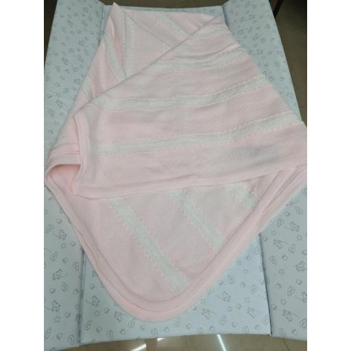 Chal o Toquilla de Lana Color Rosa con Blanco