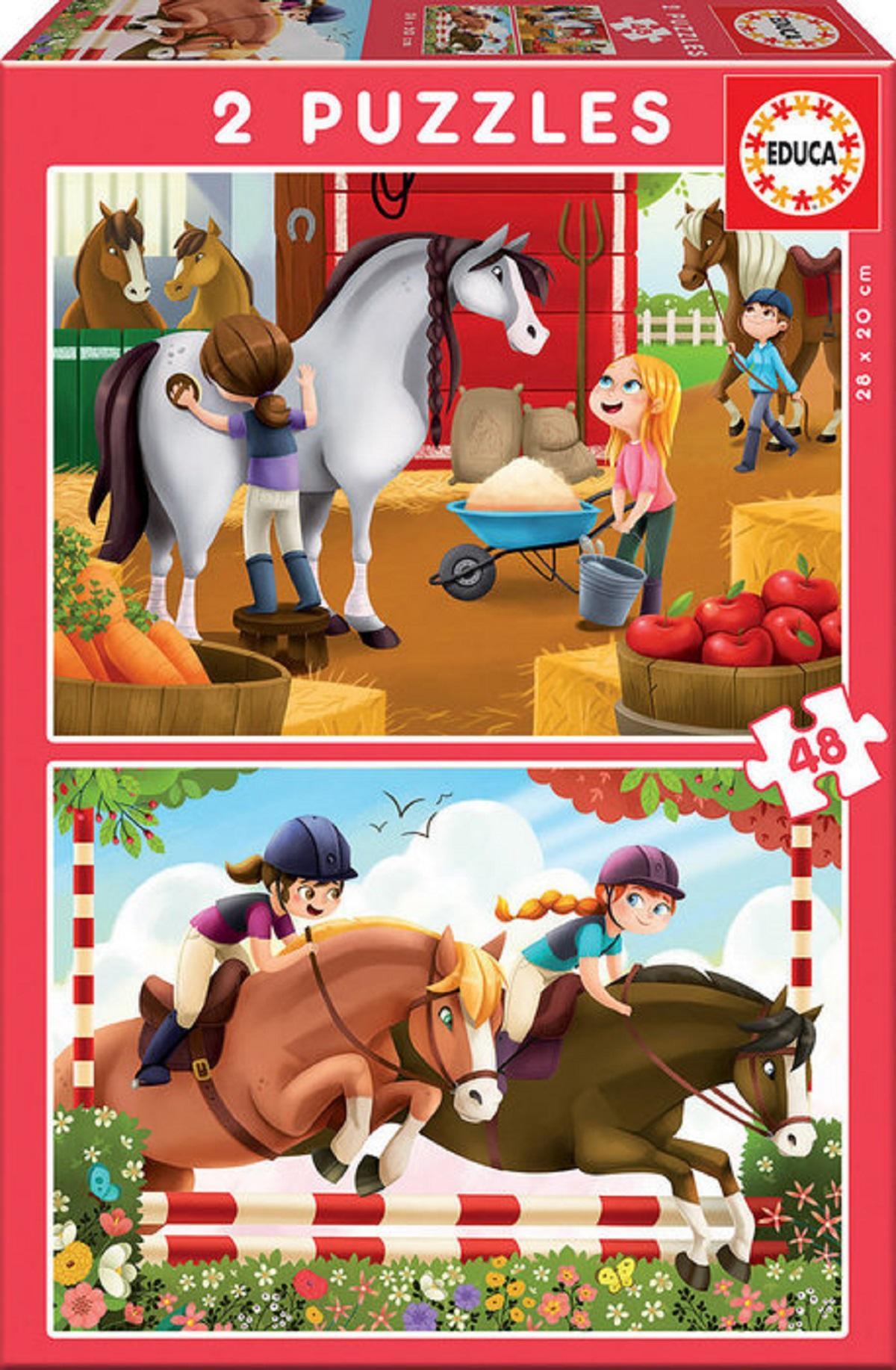 Puzzle 2 X 48 Piezas Cuidando Caballos