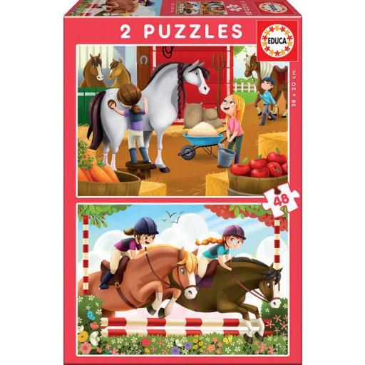 Puzzle 2 X 48 Piezas Cuidando Caballos [0]