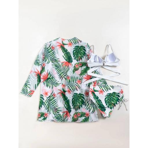 3 piezas Bañador bikini girante floral con kimono [1]